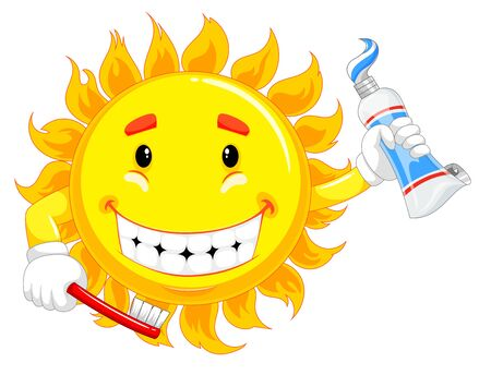 yellow sun character is holding toothbrush and toothpaste Stockfoto
