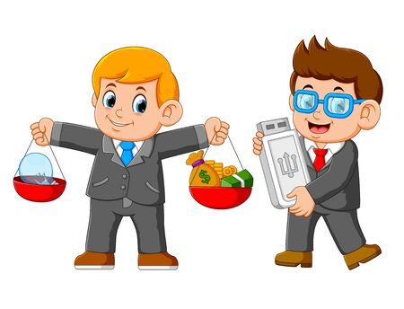 Two businessman holding usb card and carrying a balance which is the idea and money