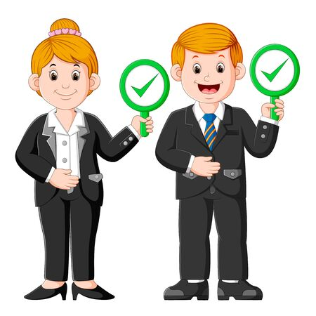 Business man and Business woman showing check mark confirmation or approval sign placards Stockfoto