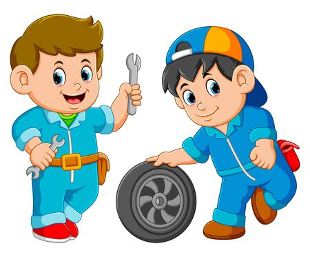 Two car service man wearing uniform with car wheel
