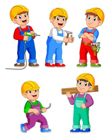 Collection of Construction Worker People cartoon character
