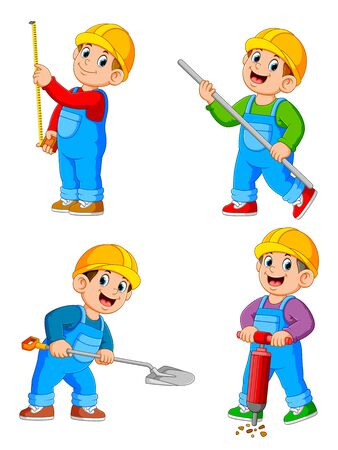 Collection of Construction Worker People cartoon character in various action