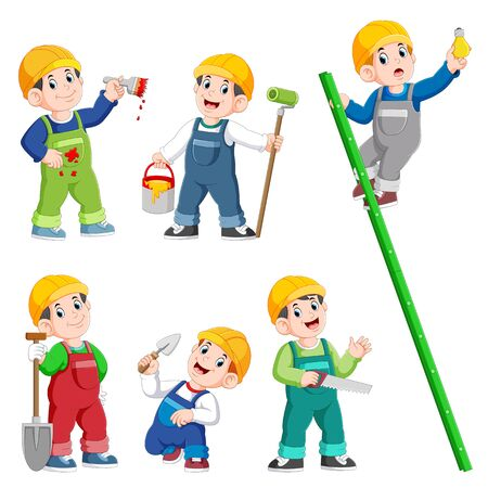 Collection of Construction Worker People cartoon character Posing and doing work