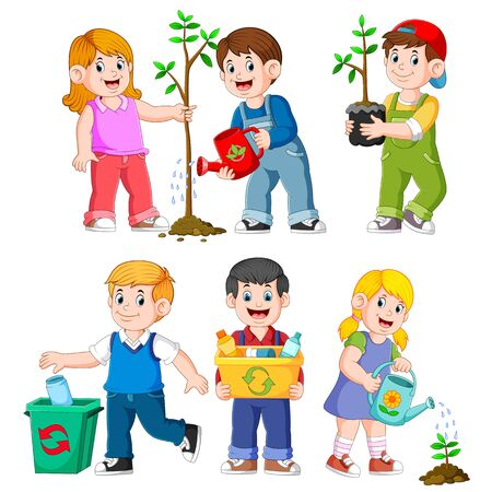Collection of happy Kids Gardening Illustrations Stockfoto
