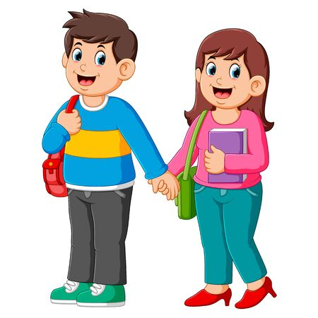 Illustration of Happy boy and girl go to school