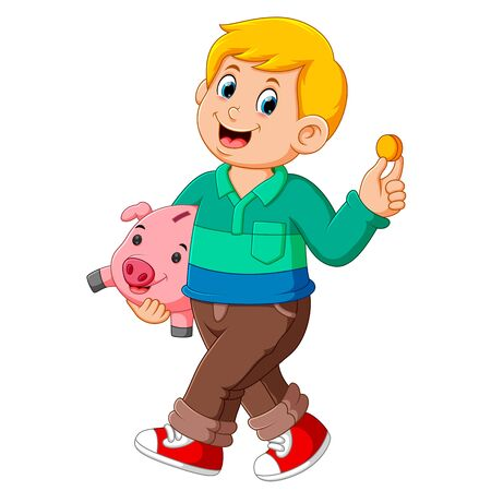 Illustration of Happy a boy smiling and carrying pig bank Stockfoto