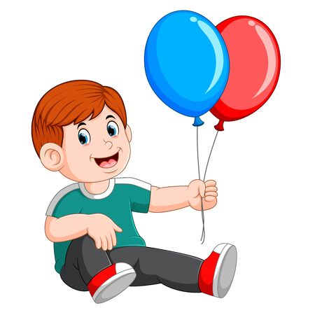 Happy a boy sitting and carrying two balloon