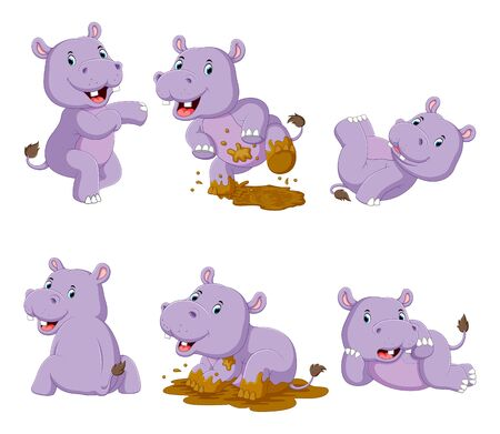 Collection of happy hippo with various posing