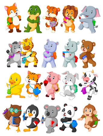 Collection of happy animal go to school