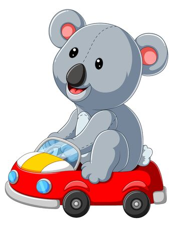 illustration of cute Cartoon Koala on a red car