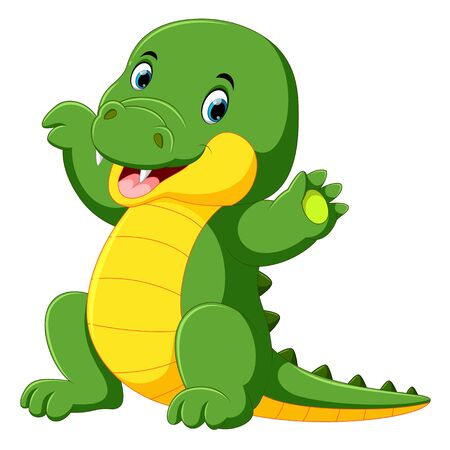 illustrazione del simpatico cartone animato coccodrillo Vettoriali