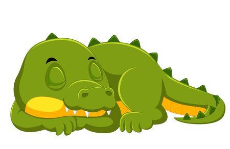illustration of crocodile sleeping on white background