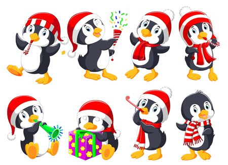 illustration of cute Christmas penguins collection