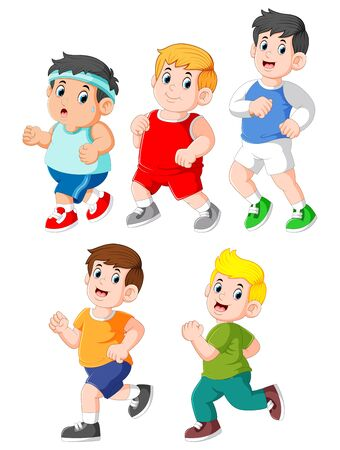 illustration of collection of kids running collection set