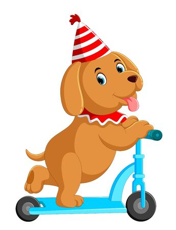 illustration of cute dog on scooter Stockfoto