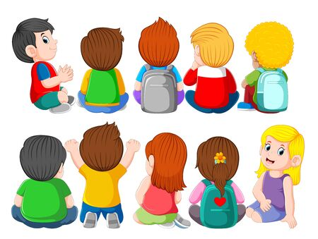 illustration of back view of a group of cute kids sitting 写真素材