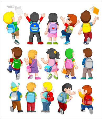 illustration of collection of Back View Illustration of Kids wearing Backpacks Stok Fotoğraf