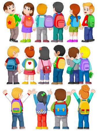 illustration of collection of Back View Illustration of college student wearing Backpacks