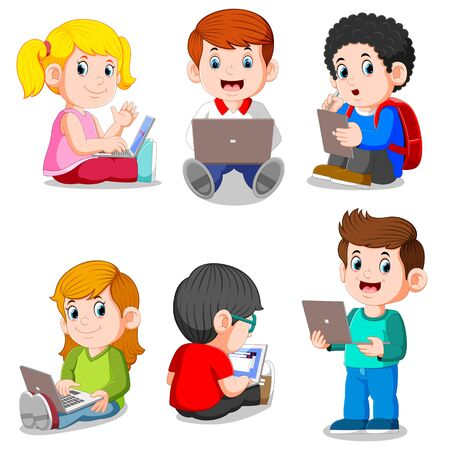 illustration of collection of boy and girl studying with laptop and tablet