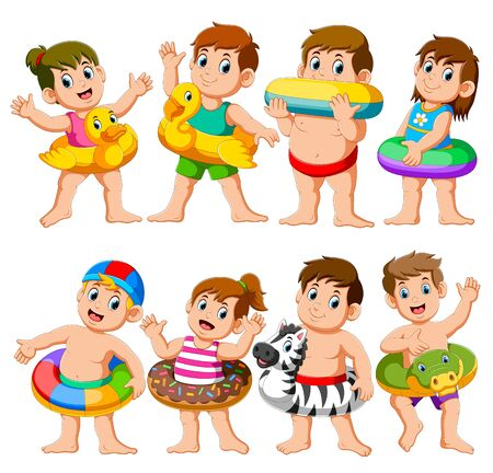 Happy Relax Holiday Children Swimming Pool Party using inflatable floats of illustration