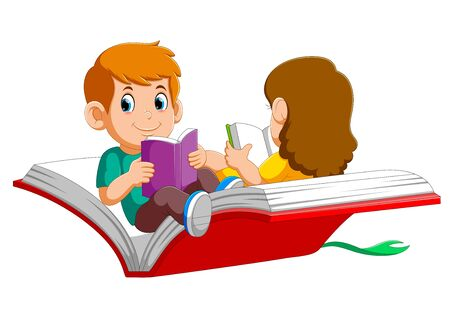 Boy and girl child flying on a big open book of illustration