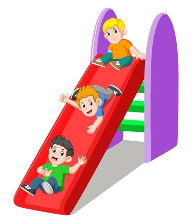 Three boy playing on slide of illustration Illusztráció