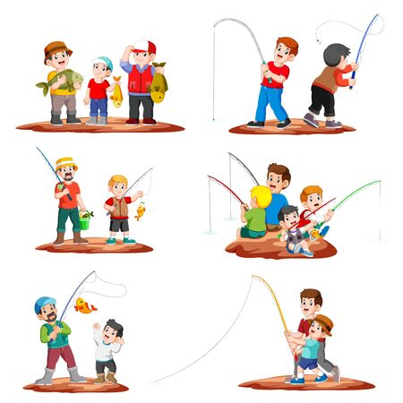 Collection Fisherman Fishing with Fishing Rod and children catching fish of illustration  イラスト・ベクター素材
