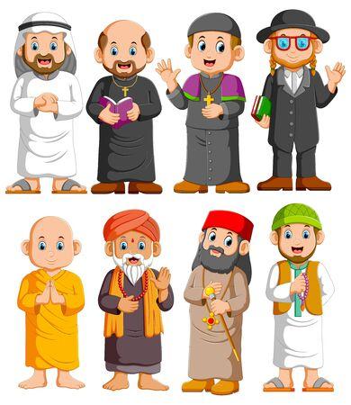 Colección Personas de diferentes religiones conjunto de ilustración
