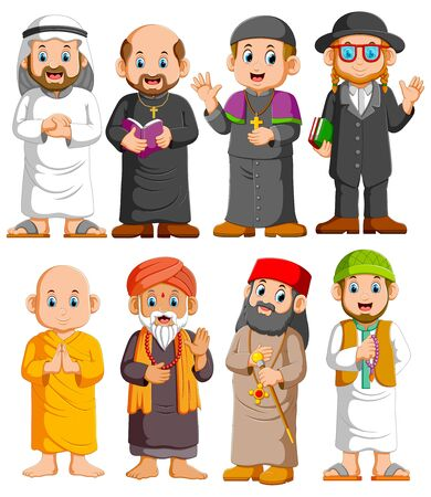 Collection People of different religion set of illustration