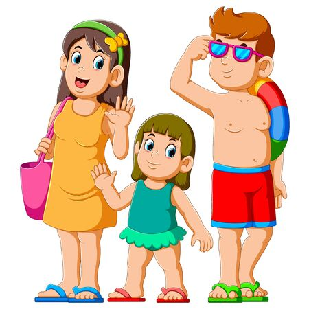Happy family on summer holiday of illustration