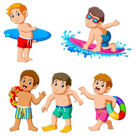 Collection of boy on summer holiday of illustration