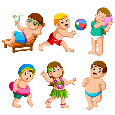 Collection of boy and girl on summer vacation on the beach of illustration
