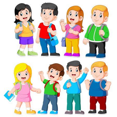 Group of elementary school kids of illustration