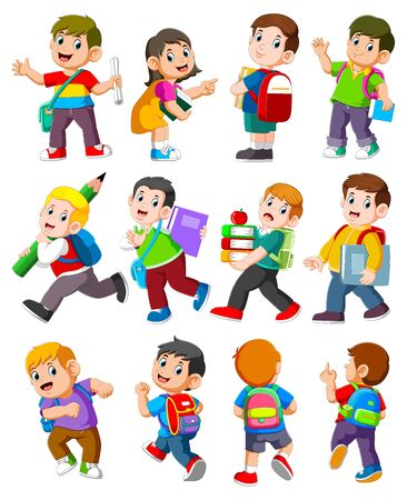 Cartoon children with books and school supplies of illustration