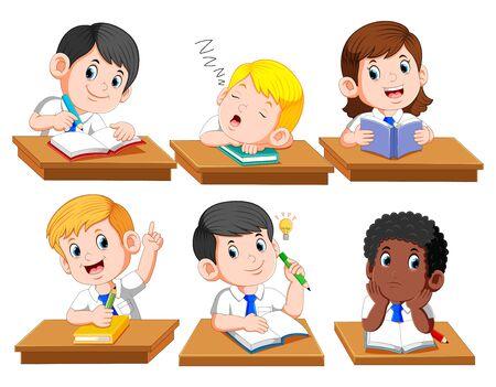 Happy kids or children sitting at desk school of illustration