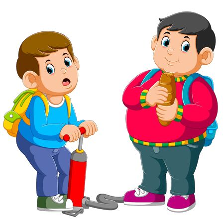 A boy pumps a his fat best friend of illustration