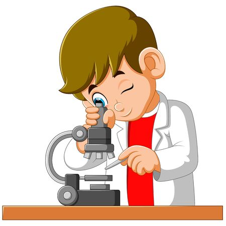 Cute boy looking through a microscope of illustration Фото со стока