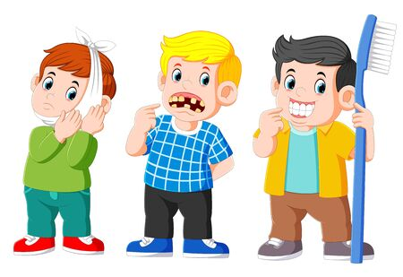 Two boy with tooth unhealthy and a boy with tooth healthy of illustration