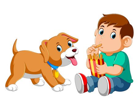 Young boy eating french fries with a dog of illustration Stockfoto