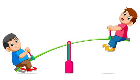 Two boys playing on seesaw of illustration Stock Photo
