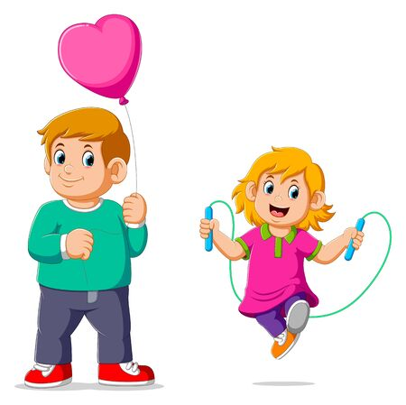 Little girl doing skipping rope with her brother carrying balloon of illustration