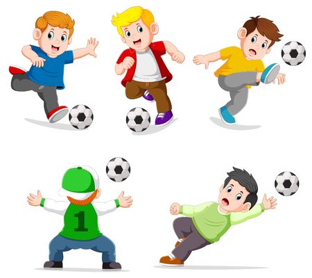 Collection boy playing soccer with different posing of illustration Stockfoto