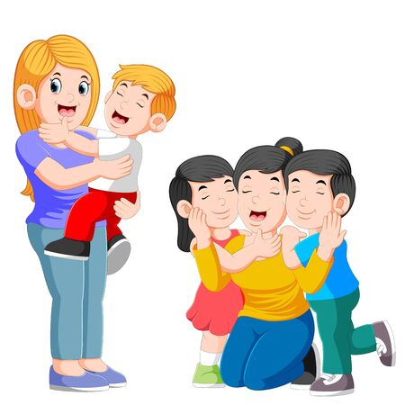 Two happy mom hugging her child and playing with her children of illustration Stockfoto