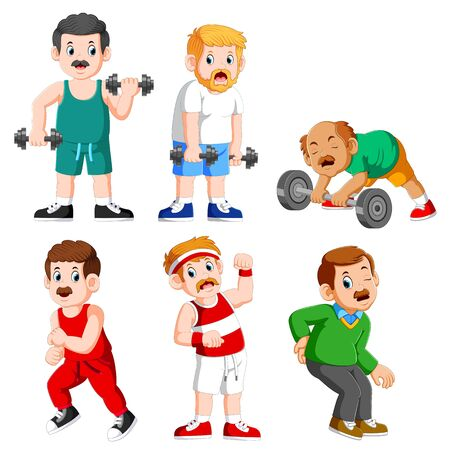 Senior man working out with weights and a man suffering from a pain of illustration