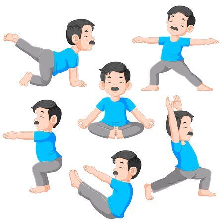 Cartoon man in various poses of yoga of illustration