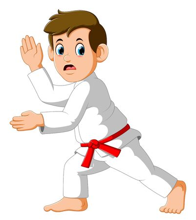 Figure in the karate fighting stance on a white background of illustration Banco de Imagens