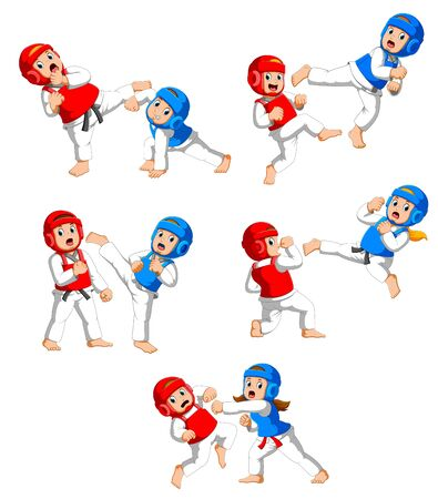 Collection of kids fighting on taekwondo with protective helmets and vests of illustration Foto de archivo - 131282638