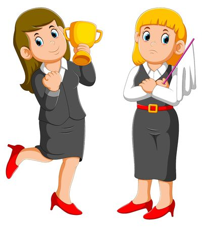 Business woman holding up a trophy cup and business woman holds white flag of surrender of illustration
