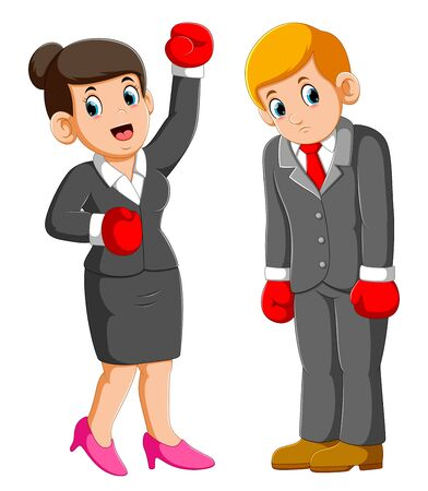 Business people with boxing gloves, business woman win and business men lose of illustration Stockfoto