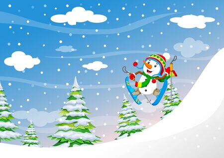 Snowman skiing downhill in high mountains in fresh powder snow of illustration